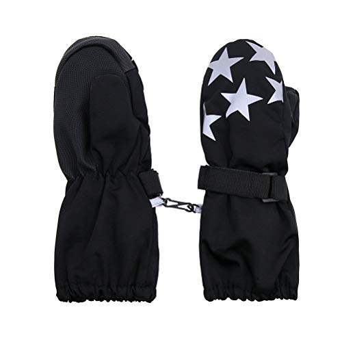Moon Kitty Baby Boys Easy On Wrap Waterproof Thinsulate Winter Snow Mittens Kids Winter Skiing Gloves