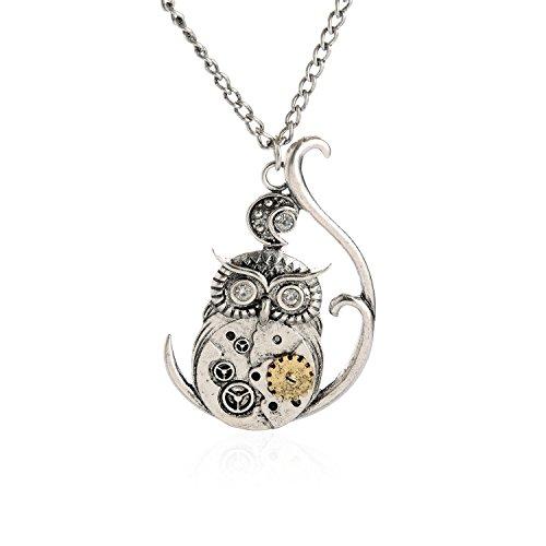 Lureme Vintage Ornate 3D Owl Moon Watch Clock Hand Gear Steampunk Fancy Dress Necklace-Owl(nl005428-5)