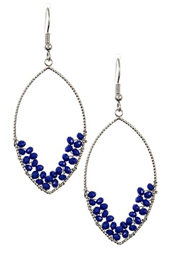 Trendy Fashion Jewelry Cluster Wired Bead Marquise Shaped Dangle Earring By Fashion Destination | (Royal Blue) - Avon Blue Rhinestone
