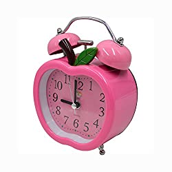 CLARA Cute Apple Shape Time Alarm Clock Retro Clock With Nightlight For Kids Children(Pink)