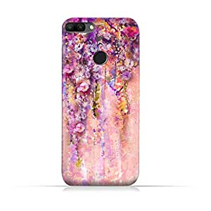 AMC Design TPU Silicone Protective Case with Artistic Purple Flowers Design for Huawei Honor 9i - Multi Color