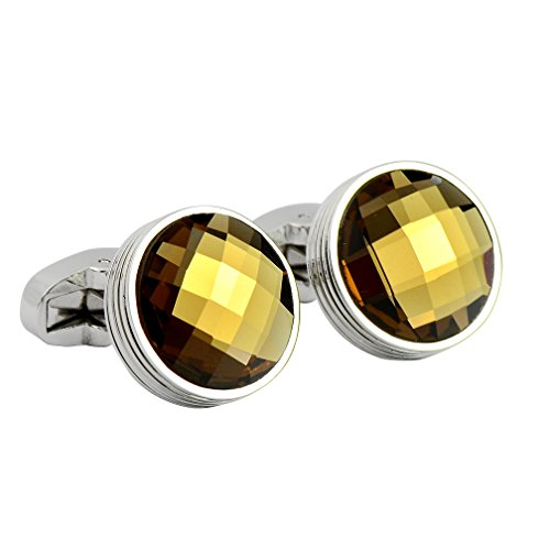 ENVIDIA Brown Circular Crystal Rondelle Cufflinks Elegant Style For Men's Shirt Business Party Jewelry With Gift (Brown Crystal Cufflinks)