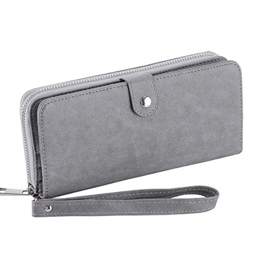 Womens Bifold Wallet Large Clutch Cellphone Purse Ladies Multi-Card Slot Wallet Passport Holder with Wristlet Strap