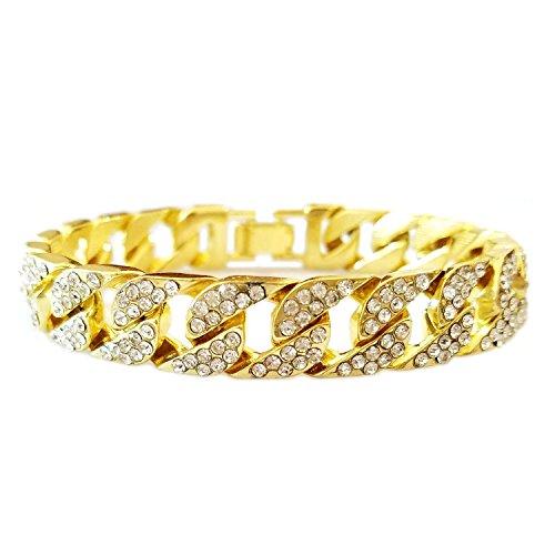 HH Bling Empire Iced Out 14k Gold Mens Hip Hop CZ Diamond Bracelets (Cuban cz Diamond Bracelet)