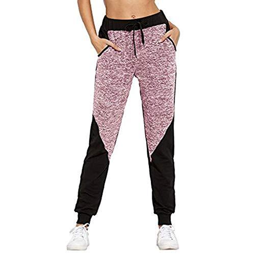VEZAD Women Pants Color Block Casual Tie Waist Yoga Jogger Pants