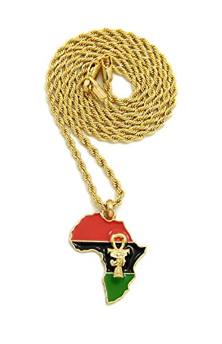 Unisex Mini Size Ankh in Africa Map Pendant 18'',20'',24'' Box, Rope Chain Necklace in Gold Tone (Gold/2mm 20'' Rope Chain) by Fashion 21