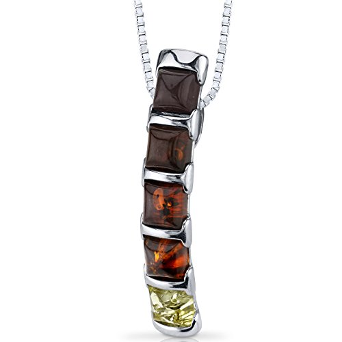 Five Stone Baltic Amber Pendant Necklace Multiple Colors Sterling Silver - Silver Multiple Gemstone Pendant