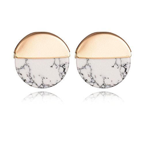 Zealmer Shoopic Marble Studs Tiny White Howlite Circle Coin Piercing Earrings for Women (Geometric Earrings)