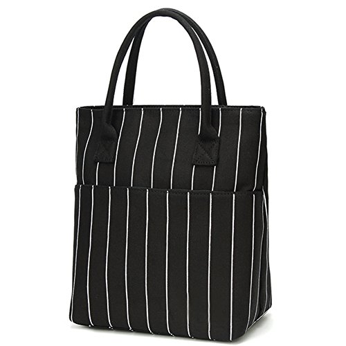 - Heymoko Medium Insulated Lunch bag Stripe Durable Canvas Lunch Tote High Capacity Lunch Box (Black-Stripe)