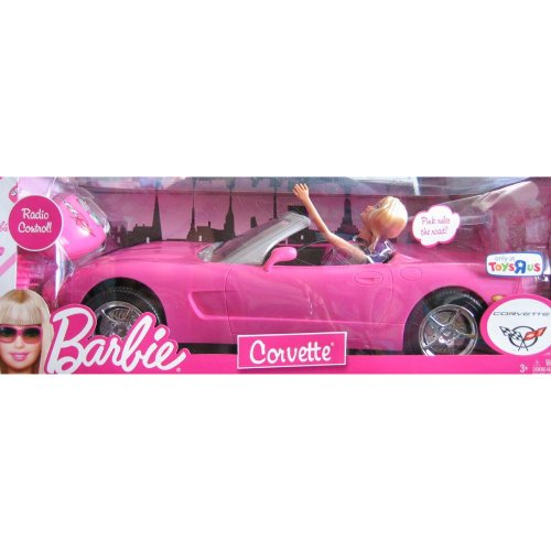 Barbie radio control corvette convertible barbie doll for Motorized barbie convertible car