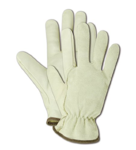 Unlined Leather Driver (Magid B6547E RoadMaster Unlined Grain Leather Driver Glove with Wing Thumb, Work, Extra-Large, Tan  (One Dozen))