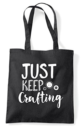 Shopper Black Just Bag Statement Keep Crafting Crafty Tote nUS4q