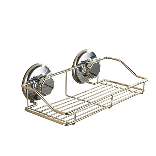 LDFAS Stainless Steel Rustproof Suction Cups Shower Storage Holders For Bathroom, Rectangle Wall Mounted Kitchen Basket Caddy