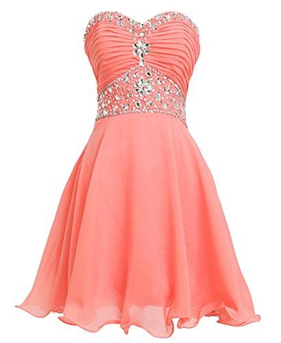 Fashion Plaza Vestido Corto de Gasa Cristal Vestido de Fiesta D0263 Coral UK8