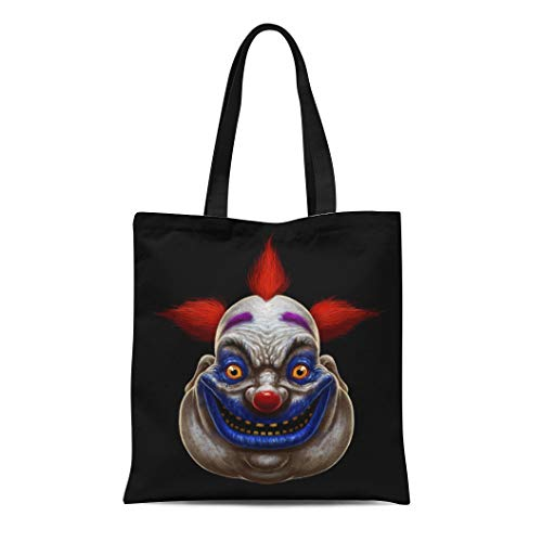 (Semtomn Canvas Tote Bag Red Evil Scary Smiling Fat Clown Halloween Circus Character Durable Reusable Shopping Shoulder Grocery)