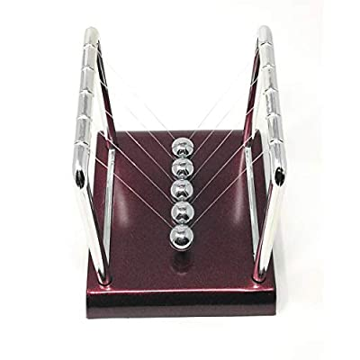 THY COLLECTIBLES Newtons Cradle Balance Balls 5 1/2 inch Desk Top Decoration Kinetic Motion Toy for Home and Office (Red 5.5