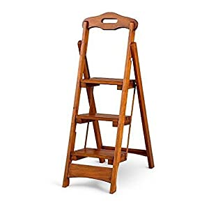 Wooden Folding Step Ladder Solid Wood Home Library Kitchen Portable Stool Brown