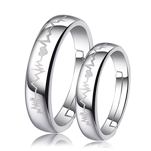 94f2f2a990b Peora Silver Plated Heart and Heartbeat Engraved Adjustable Promise Couple  Ring for Men and Women - Set of 2