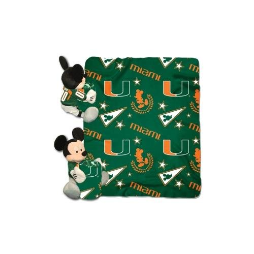 Miami Hurricanes Set (Officially Licensed NCAA Miami Hurricanes Co-Branded Disney's Mickey Hugger and Fleece Throw Blanket Set)