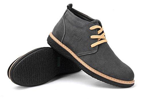Mens Chaud Hiver Plus Velours Coton Faux Cuir Cheville De Neige Bottes Chaussures Gris