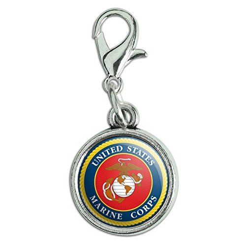 GRAPHICS & MORE Marines USMC Logo Blue Red Gold Officially Licensed Antiqued Bracelet Pendant Zipper Pull Charm with Lobster Clasp