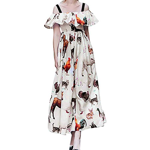 (Women's White Dresses Fashion Sexy Off Shoulder Animals Printed Backless Ruffles Party Dress (L, White))