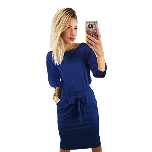 - Longwu Women's Elegant Lantern Sleeve Wear to Work Casual Pencil Dress with Belt Blue-XXL