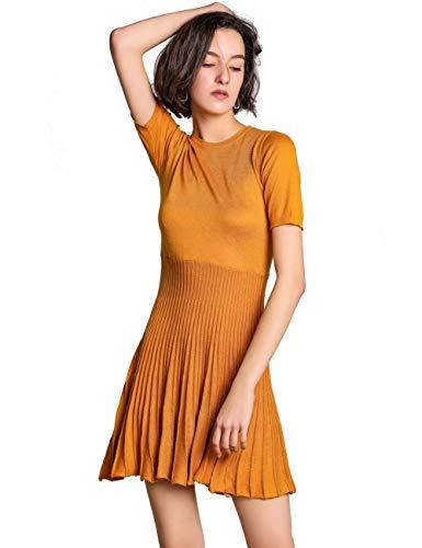 FINCATI Slim Dress Spring Summer 2019 Cashmere Knitted Fitted Waist Flattering Modest Classy Dresses (S-Golden Camel, M)