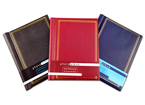 Leather Effect Red Photo Album 40 Pages self Adhesive 8