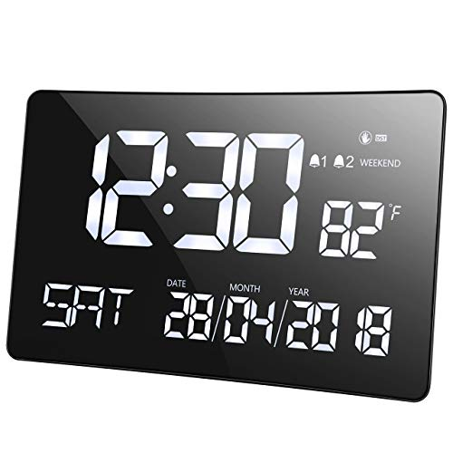 Mpow Day Clock for The Elderly and Senior, 11'' Extra Large Digital Calendar Alarm Clock, Reminder for The Memory Loss, Dementia, Alzheimer's Vision Impaired, Wall Clock, 2 Alarms, Temperature