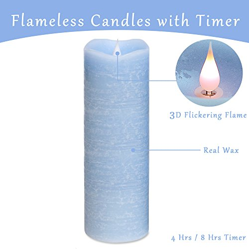Flameless Candles with Timer, Real Wax Flickering Flameless Candles, Battery Operated LED Candles with Moving Wick, 9 inch Large Flameless Pillar Candles with Dancing Flame(Blue)(Large)