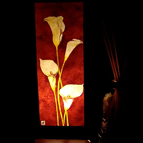 White Lily Flower Handmade Asian Oriental Wood Light Night Lamp Shade Table Desk Art Gift Home Vintage Bedroom Bedside Garden Living Room; Free Adapter; a Us 2 Pin Plug #512 by Apple-Heart (Image #2)