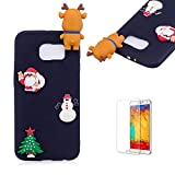 Cute Cartoon Case For Samsung Galaxy S6 Edge,Funyee Stylish 3D Christmas Deer Design Ultra Thin Soft TPU Silicone Case for Samsung Galaxy S6 Edge,Anti-scratch Rubber Durable Shell Smart Phone Case with Free Screen Protector,Black