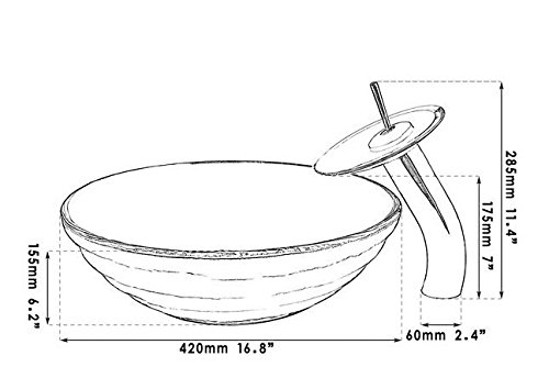GOWE Clear Circle Round Tempered Glass Vessel Sink With Faucet and Pop-Up Drain 2