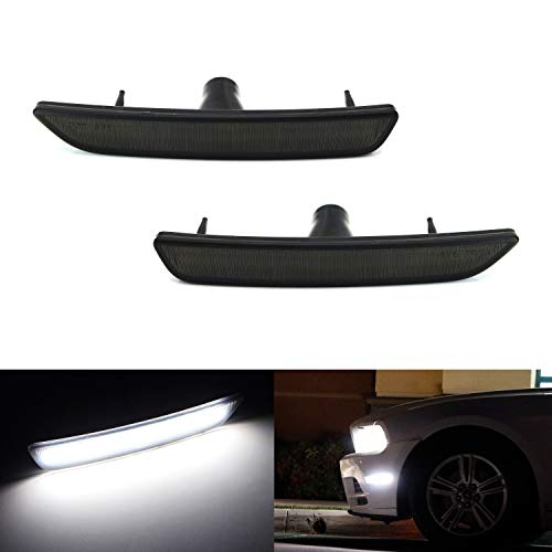 iJDMTOY Smoked Lens White Full LED Front Side Marker Light Kit For 2010-14 Ford Mustang, Powered by 27-SMD LED, Replace OEM Sidemarker Lamps ()