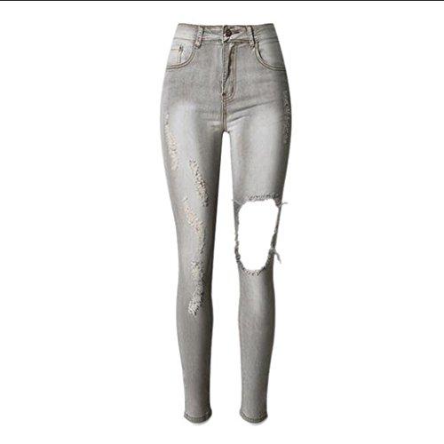 Ginocchio Dei Stretti Pantalone Pantaloni Donna Della Inguainati Tasca Wgwioo Sottili Gray Zip Denim Disco Da Jeans Del dyqfBcI