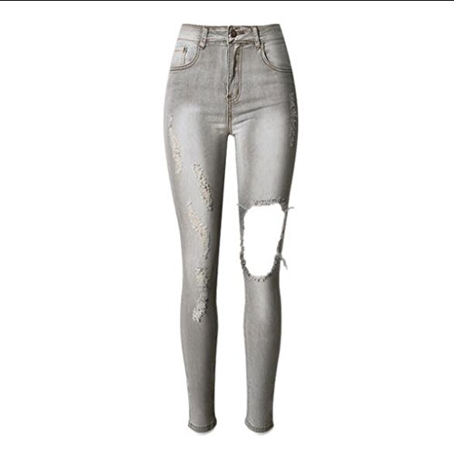 Gray Da Pantaloni Denim Disco Donna Dei Pantalone Sottili Ginocchio Del Della Zip Tasca Inguainati Wgwioo Stretti Jeans 0ExRwTaqTB