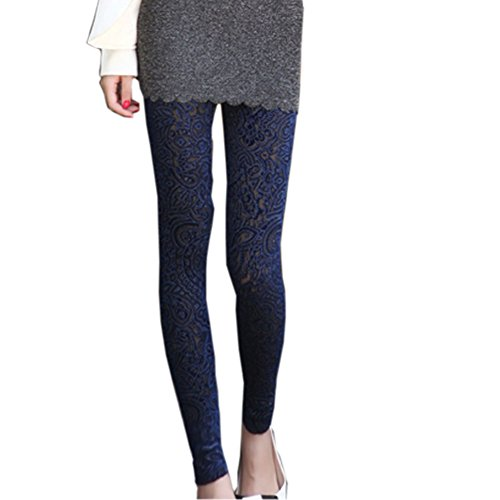 Flower Lace Leggings - Pinbo Women Vintage Velvet Flower Skinny Lace Hipster Punk Sheer Legging Pants (Royalblue)