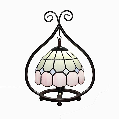 8 inch Mediterranean Style Tiffany Stained Glass Lamp With Heart Shape Base (Pink) ()