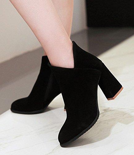 Aisun Kvinna Trendig Inuti Zip Upp Spetsig Tå Dressat Tossor Blockerar Hög Klack Boots Med Dragkedja Svart