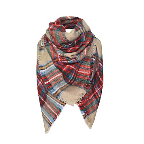 Women Plaid Blanket Thick Winter Scarf Tartan Chunky Wrap Oversized Shawl Cape -