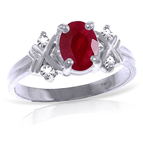 1.47 Carat 14k Solid White Gold Ring with Genuine Diamond...