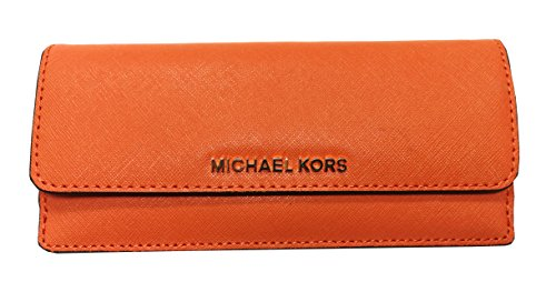 Travel Flat Saffiano Leather Wallet (Tangerine Orange) ()