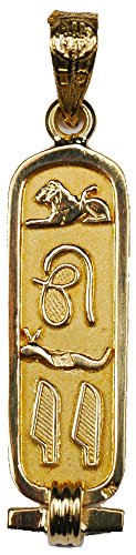 Discoveries Egyptian Imports - Handmade 18K Gold Cartouche with LOVE Translated into Hieroglyphic Symbols - 1-Sided Solid Style - Made in Egypt