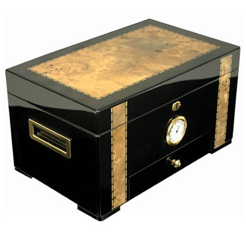 The Ebony - Cigar Humidor - Exotic High Gloss Piano Finish Ebony Wood With Birdseye Maple Inlay, Spanish Cedar Interior. Holds 150 Cigars (15 3/4