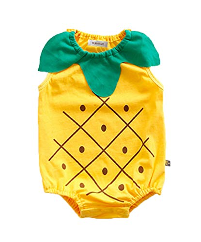 Styles I Love Infant Baby Boy and Girl Sleeveless Fruit Pattern Summer Cotton Romper Halloween Costume Jumpsuit 3 Colors (Pineapple, 80/12-18 Months)]()