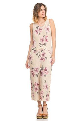 Beige Kordelzug Vordertaschen Leinen und mit Rücken am Blumendruck Verstellbarem Laura Moretti Jumpsuit Knopfverschluss 70Xa5