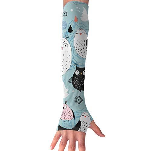 MASDUIH Mysterious Owl Gloves Anti-uv Sun Protection Long Fingerless Arm Cooling Sleeve