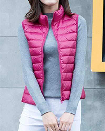 Femme Oversize Manteau Casual Vest Rose en Jacket Gilet Automne Duvet Outerwear Warm Legere Matelass Elgante Fashion Vtements Sleeveless Gilet pIZgw5Aqx