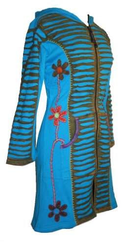 323 RJ Patch Funky Cotton Bohemian Long Jacket [Turquoise; S/M] by Agan Traders (Image #3)